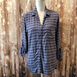 Beach Lunch Lounge Spring Shirt Blue Striped Med